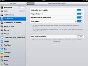 Opciones localización iOS5